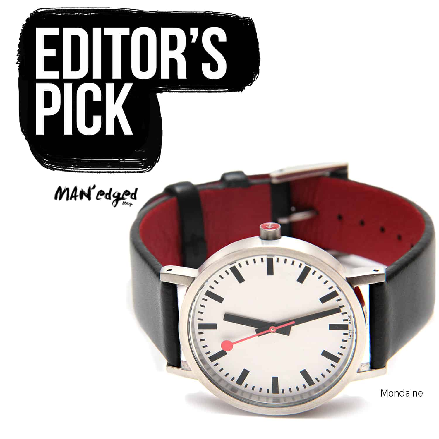 Editor's Pick highlight featuring the men's watch by Mondaine SBB Classic Pure Watch Close Up