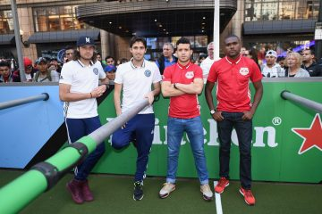Andoni Iraola, Mix Diskerud of the NYCFC and Felipe Martins and Chris Duvall of the New York Red Bulls
