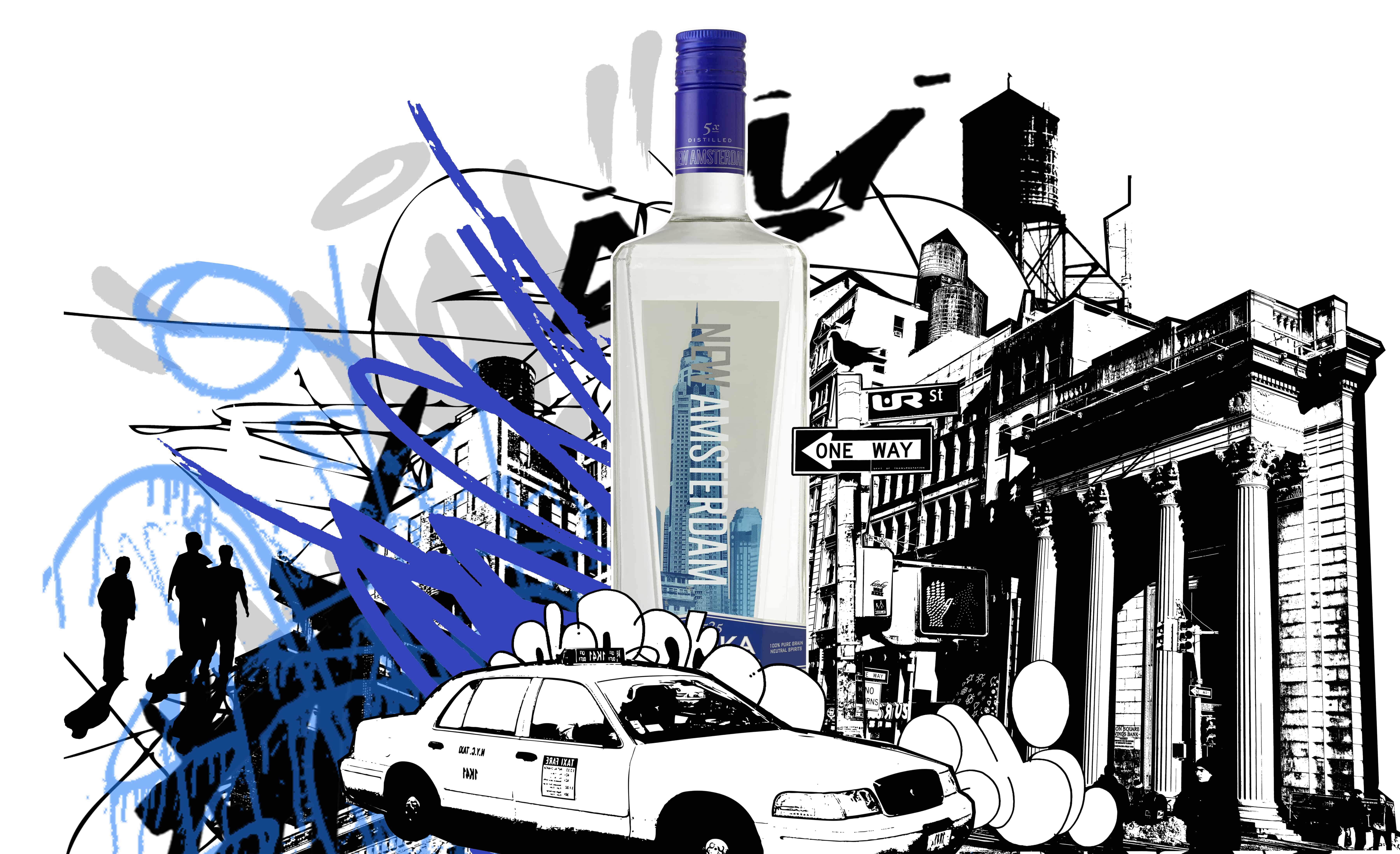 """New Amsterdam Vodka """"It's Your Town"""" MAN'edged Mag with work by UR New York"""
