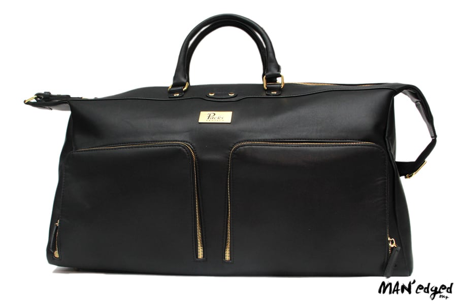 Large black men's weekender travel bag with leather details and zippers from Packs Project