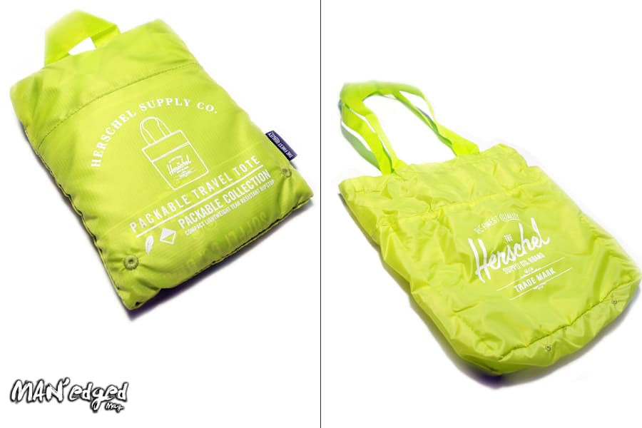 Neon colored packable Herschel tote MAN'edged Magazine Men's Gift Guide