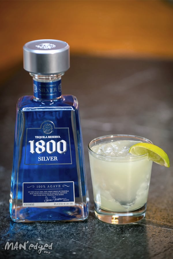 1800 Tequila Silver bottle and margarita cocktail
