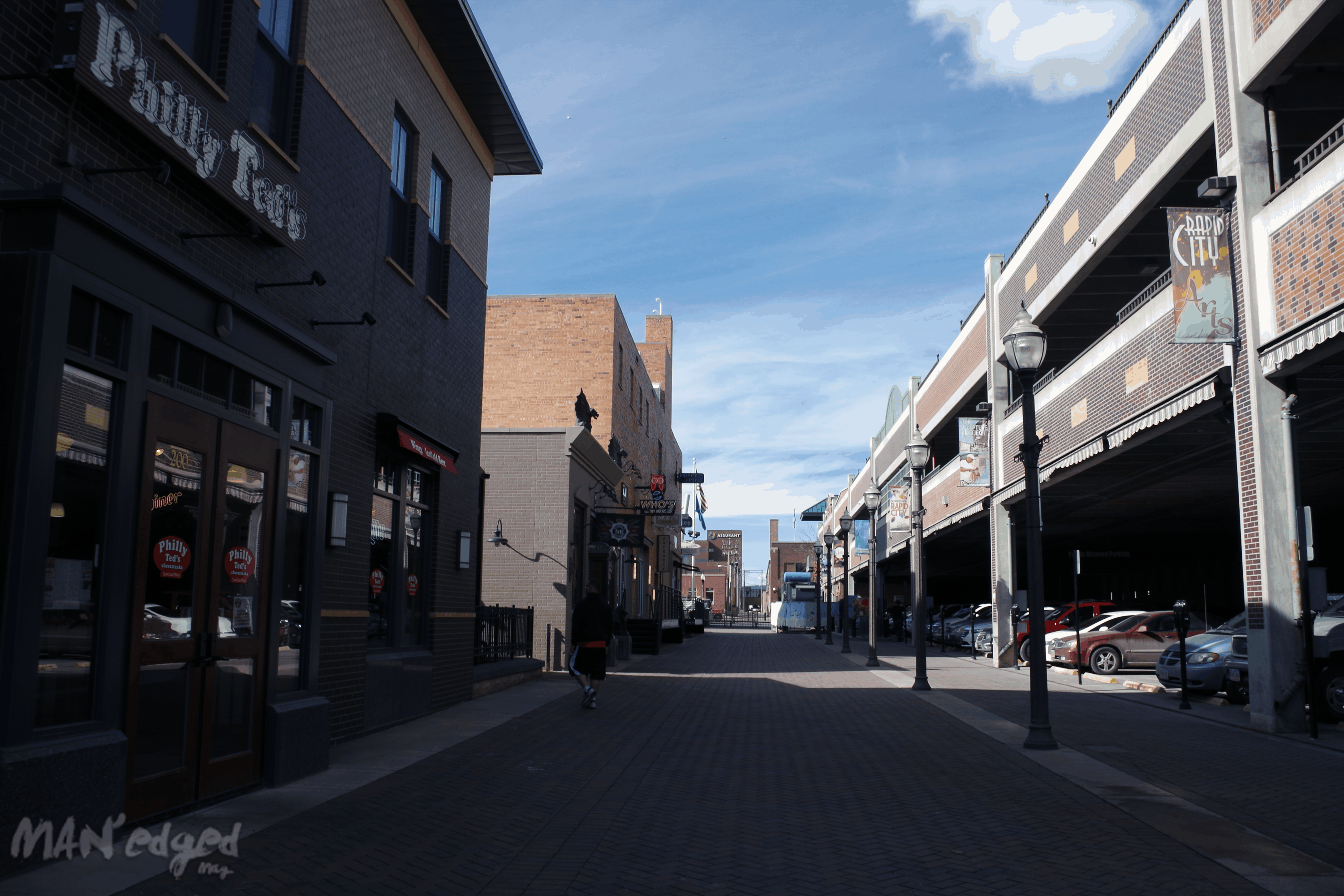 A shot of downtown Rapid City's local shops and eateries.