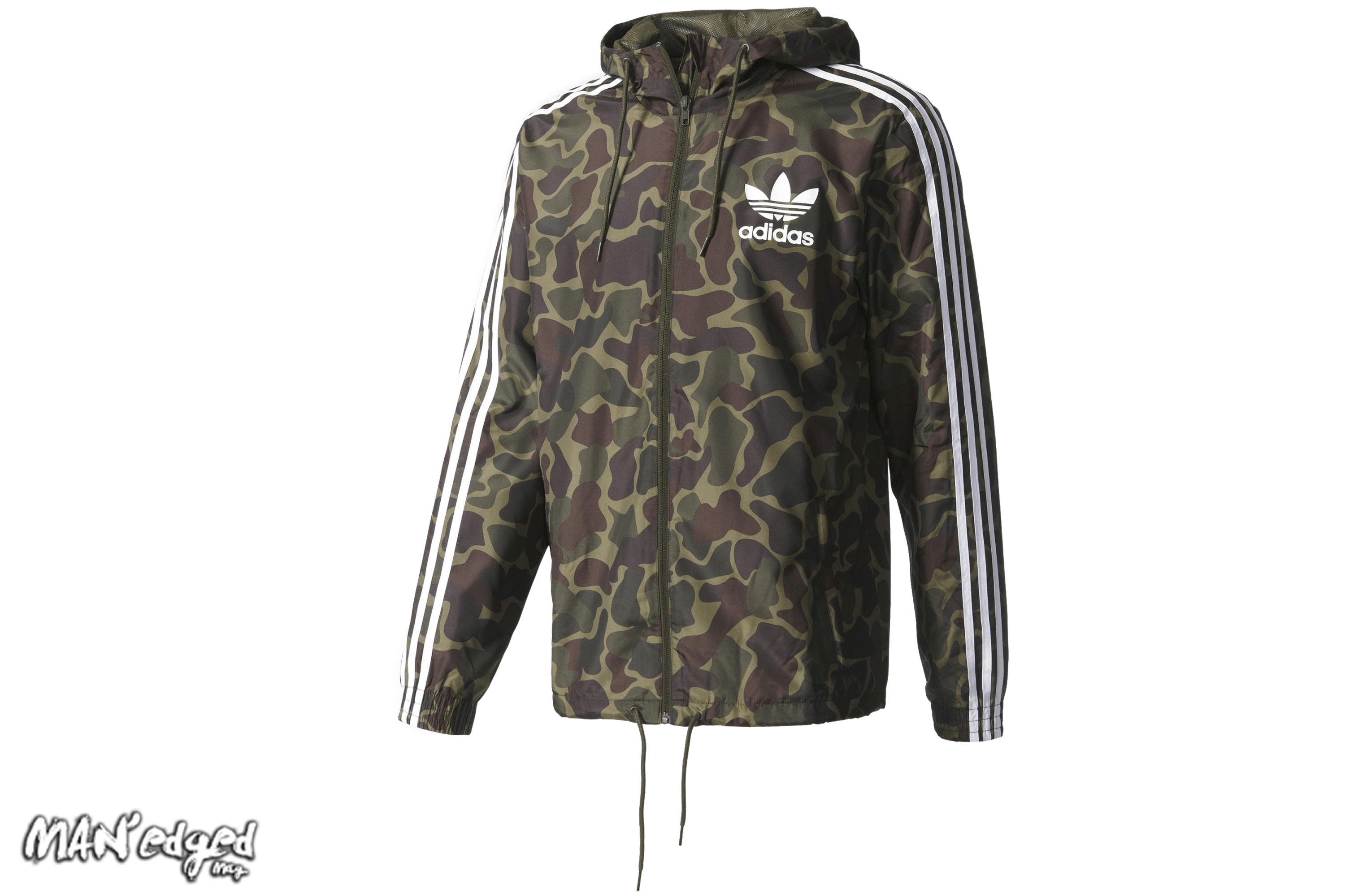Men's green camouflage windbreaker jacket by Adidas, featured in MAN'edged Magazine St Patricks Day men's style round up