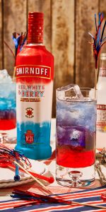 Red, white, and berry Smirnoff 4th of July Cocktail