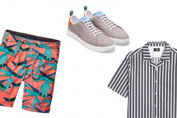 July Men's Summer Editor's Pick featuring men's printed swim trunks, men's gray sneakers, and men's striped shirt