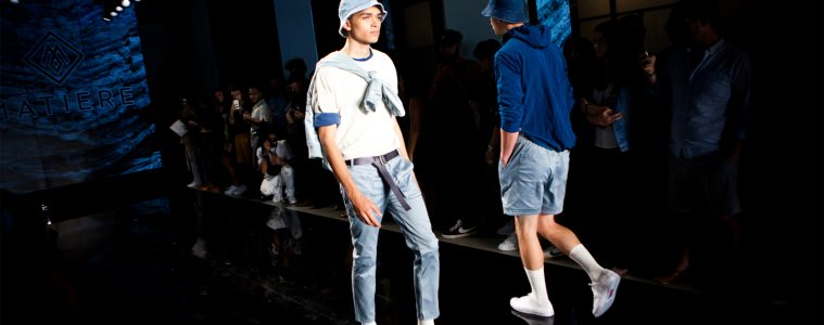 Male model walking in Matiere men's sow at new york men's fashion week featured in how to make your men's style better