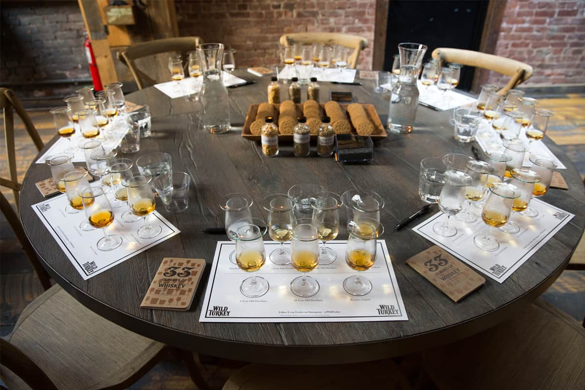 Tasting stations for press. Image via Wild Turkey.