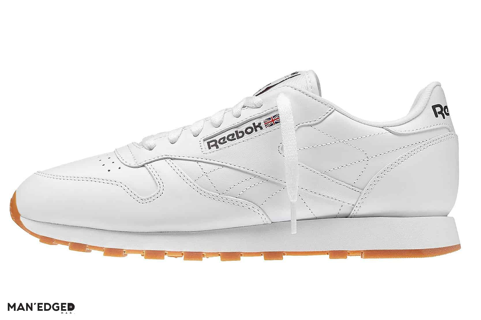 How to Gift to the Athleisure Obsessed Man featuring men's Reebok classics in white with gum sole