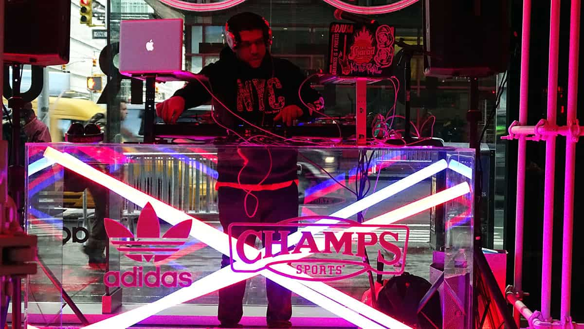Dj playing at adidas x champs sport deerupt pop up in NYC