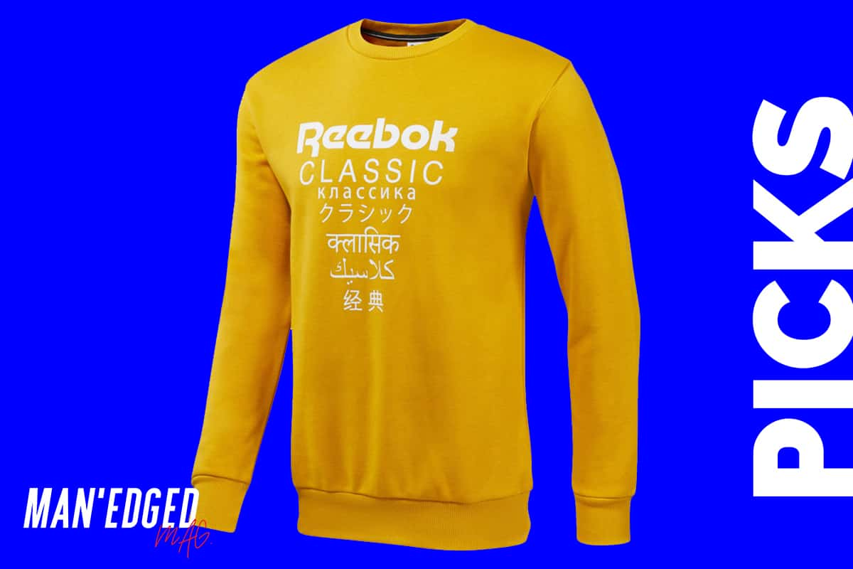 the best men's sweaters for fall roundup by MAN'edged Magazine highlighting a yellow men's reebok classic sweater