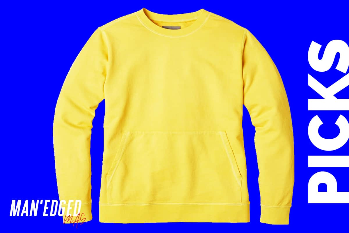 the best men's sweaters for fall roundup by MAN'edged Magazine highlighting a yellow men's sweater from bonobos